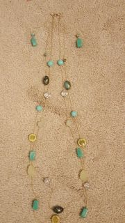 "37"" double strand turquoise necklace and earring set for sale"