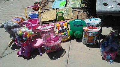 Ride on toys $5 each Little Tikes brand and Fisher Price shopping carts $4 & $5 bags of Mega Bloks $10 bag of 80