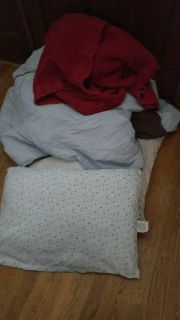 Free!!! Blankets are well loved. Pillows are flat.