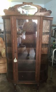 GORGEOUS ANTIQUE OAK CURVED GLASS CHINA DISPLAY CABINET