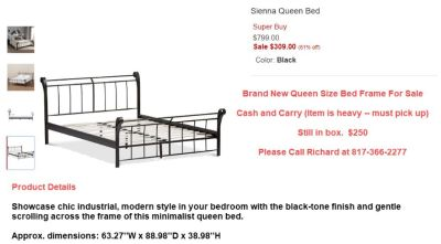 Bed, Sienna Queen, Brand New from Macy's
