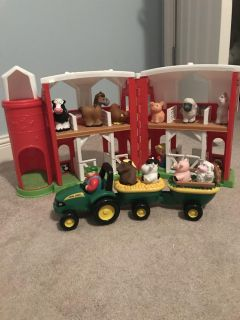 Little people barn and John Deere tractor