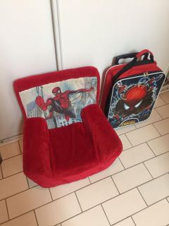 Toddler /kids Spider-Man plush sofa chair And Spider-Man luggage carry on bag suitcase