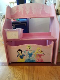 Wooden Disney Princess 1 Bin Organizer with Roll Out Toy Box in Pretty Pink