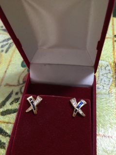 14kt yellow gold blue sapphire and diamond earings