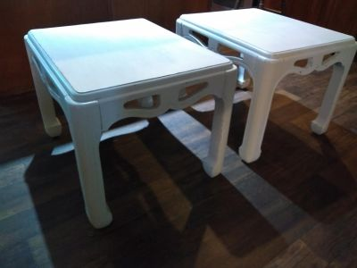 Set of adorable refinished shabby chic end tables