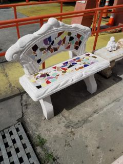 Concrete Bench with Back