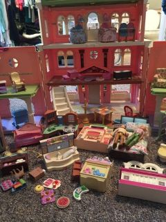 Fisher price doll house and accessories
