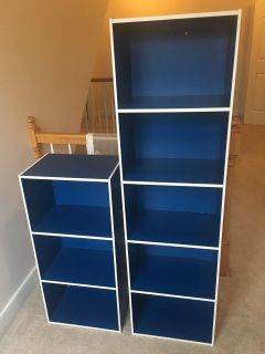 2 shelving units, blue and white