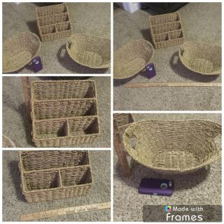 Set of 2 nice decorative baskets with matching organizer, all in VGUC $8.00
