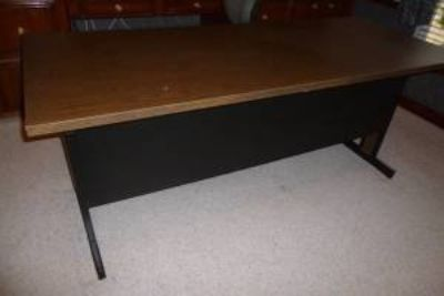 "WOW! 6' long x 30"" wide 2-tone wood looking top METAL DESK w/Storage Shelf on back/bottom. FANTA..."