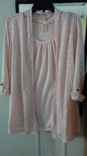 Pink 3X cardigan sweater with attached dressy tank built in