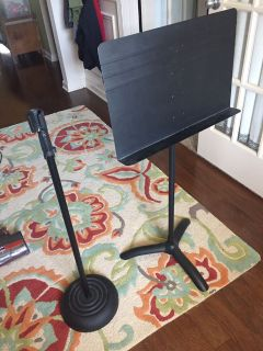 Heavy duty mic stand and music stand