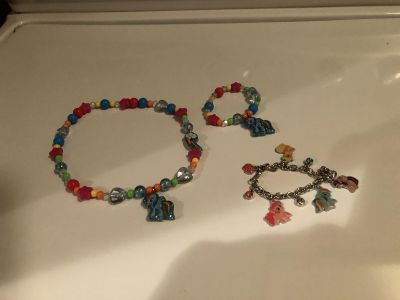 My little pony necklace and two bracelets