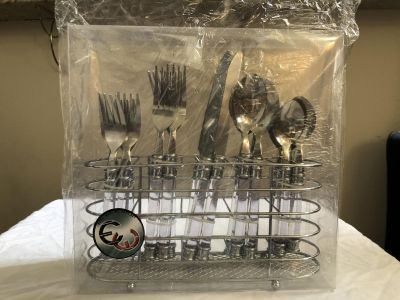 20 pc flatware set with holder