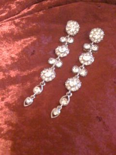 REDUCED!!!Silver & diamond long earrings
