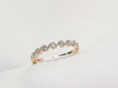 10k rose gold 1/6ctw diamond ring, stackable