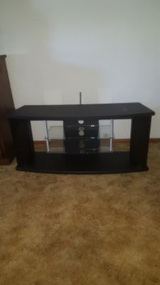 Tv stand/ black with glass shelves