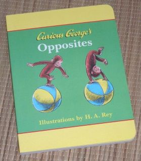 Vintage 1998 Curious Georges Opposites Hard Cover Board Book
