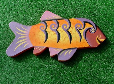 Hand Painted Cardboard Fish Wall Decor Folk Art
