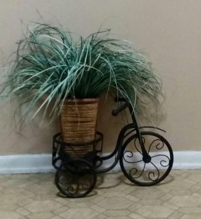 WROUGHT IRON/ PLANT STAND WITH ARTIFICIAL PLANT......EXCELLENT CONDITION