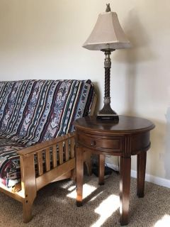 Round end table with drawer and lamp