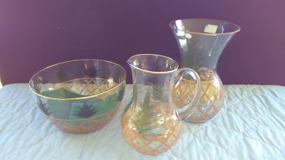 Crystal Clear Pitcher Vase and Bowl
