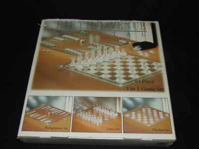3 in 1 Glass Game Set, Chess Checkers Backgammon New in Box