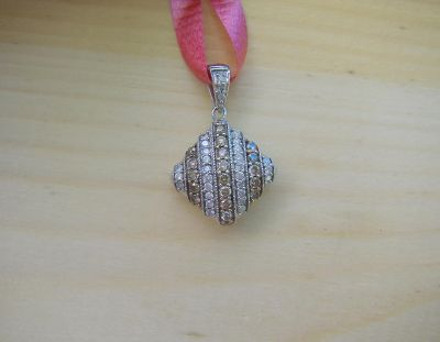 Sterling Silver and Diamond Pillow Pendant