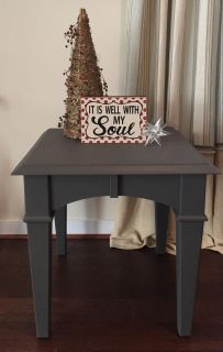 Slate gray chalk paint end table/nightstand/side table