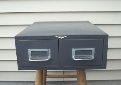 Vintage Cole Steel 2 Drawer Card Catalog Filing Cabinet