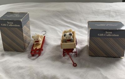 2-Avon Teddy Best Ornament Collection- Teddies in Wagon and Teddy on Sled-$3.00 each or both for $5.00