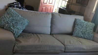 Light gray couch .