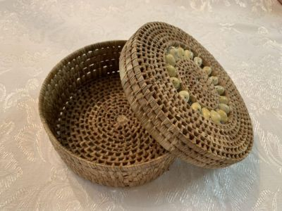 Decorative Round Basket With Lid
