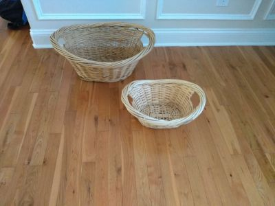 """Set of two baskets measure 23"""" by 17"""" & 10 1/2"""" deep and 15 1/2"""" by 11 1/2"""" and 7 1/2"""" deep"""
