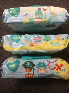 3 Packs of pampers complete clean baby wipes 72 wipes per pack