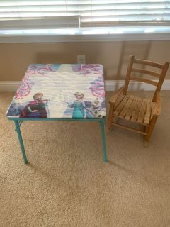 Kids folding table and rocking chair