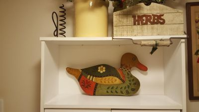 Ready to hang beautifully decorated and extremely colorful Wooden Duck