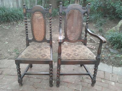 Antique English Oak Barley Twist Dining Chairs- 4 side & 1 arm
