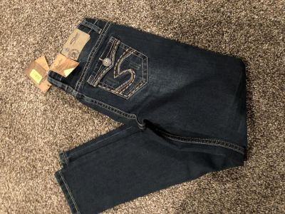 Girls silver jeans size 8 NWT