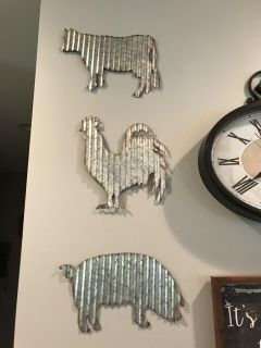 Galvanized wall hangings- chicken, Cow & pig
