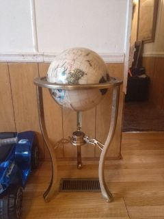 Brass floor globe stand with compass