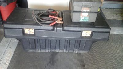 Pick Up Truck Storage Utility Box Container w/ Jumper Cables & Tool Box