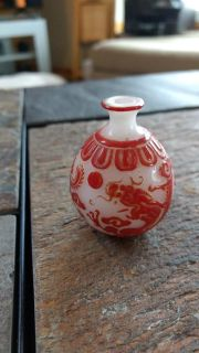 Chinese Miniature Ivory Carved Dragon Vase With Red Overlay