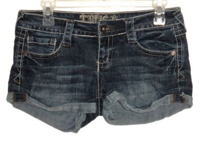 Truce Cuffed Denim Jean Mini Shorts w Embroidered Pockets Womens 5 Juniors