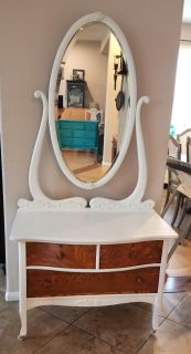 Antique Refinished Shabby Chic Dresser with Mirror