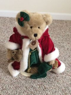 Boyd s Santa Plush Bear on Stand
