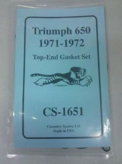 Sell TRIUMPH TOP END GASKET KIT 71-72 650 motorcycle in New Bedford, Massachusetts, US, for US $36.00