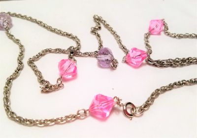 """Vintage Sarah Coventry Signed Necklace Pink Purple Strand 56"""" Silver Tone Chain Strand Link Long"""