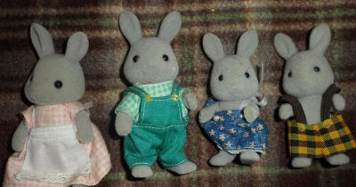 Vintage Calico Critters Grey Rabbit Family